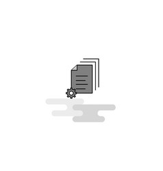 Document setting web icon flat line filled gray vector