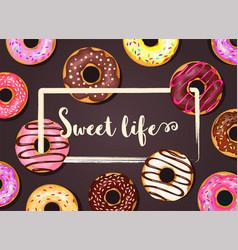 donut frame background vector image