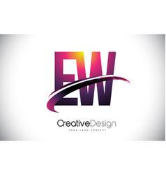 Ew e w purple letter logo with swoosh design vector