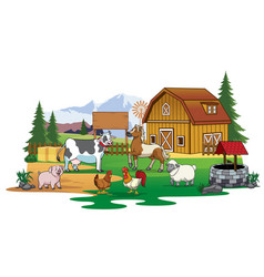 Farm animals gathering in the farm land vector