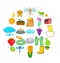farm icons set cartoon style vector image