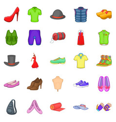 fashion things icons set cartoon style vector image