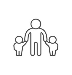 Father and children line outline icon vector