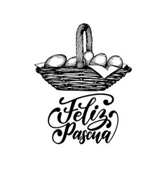 feliz pascua translated from spanish handwritten vector image