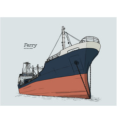 Ferry boat hand draw sketch vector