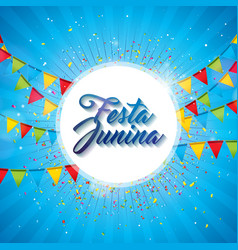 Festa junina with party flags vector