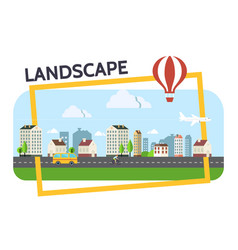 Flat city landscape composition vector