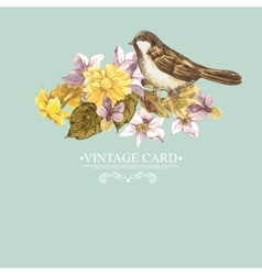Floral Retro Card with Bird Sparrows vector image