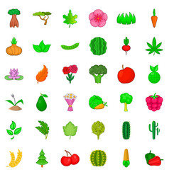flower icons set cartoon style vector image