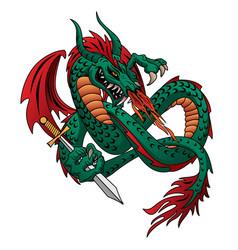 Flying fire breathing dragon vector
