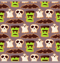 ghost and skull zoombie head halloween seamless vector image