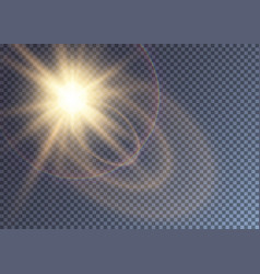 Gleaming golden sun with lens flare vector