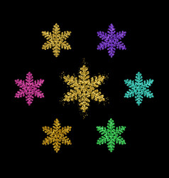 gold snowflakes golden glitter snow flakes vector image