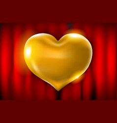 golden heart celebration balloons glitters 3d vector image