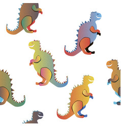 gradient dinosaurs on the white background vector image