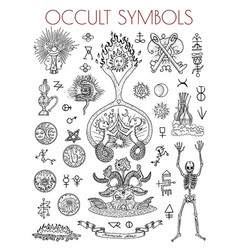 graphic set with esoteric symbols and vector image