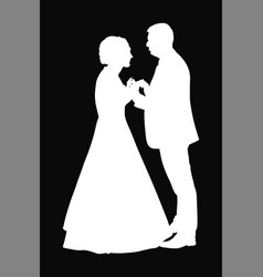 Groom and bride wedding silhouette on black vector