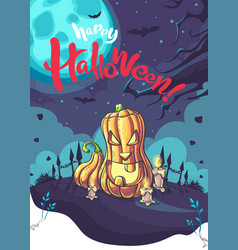happy halloween background with cute vector image