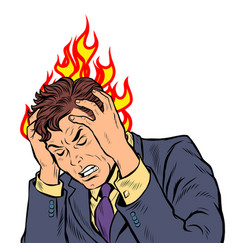 headache man heat and temperature vector image
