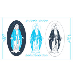 Holy virgin mary with greeting cards vector
