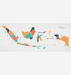 Indonesia map with states and modern round shapes vector