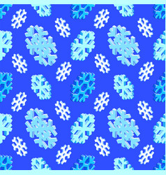 Isometric snowflake seamless pattern vector