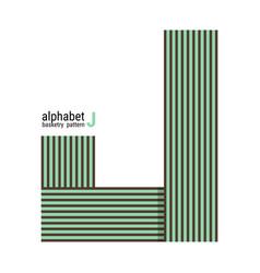 J - unique alphabet design with basketry pattern vector