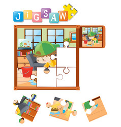 jigsaw puzzle pieces with boy cleaning floor vector image