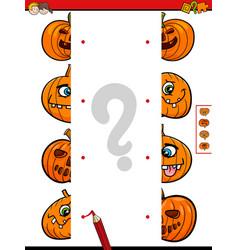 join halves game of halloween pumpkins vector image