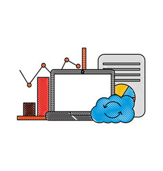 laptop cloud computing reload chart finance vector image