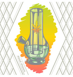 Large glass bong color back vector