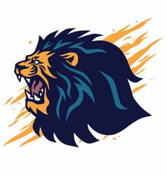 Lion head roaring logo icon mascot design vector