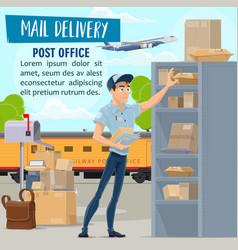 Mail delivery service mailman and parcel vector