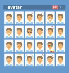 Male different emotion set profile icon man vector