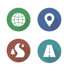 Map navigation flat design icons set vector image