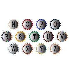 metal bottle cap alphabet n-z vector image