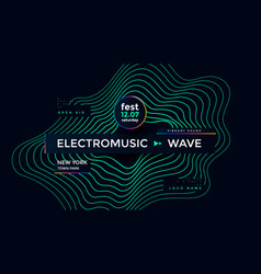 music wave poster design electronic sound card vector image
