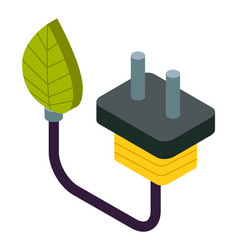 natural green eco energy icon with electric plug vector image