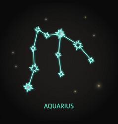 Neon aquarius zodiac sign on dark background vector