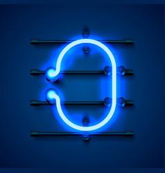 Neon font letter o art design signboard vector
