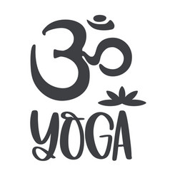 om symbol and inscription yoga with image vector image