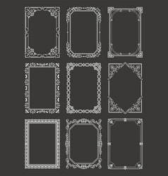 Retro style vintage frames set ornamental graphic vector
