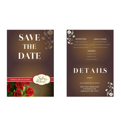 Rose flower with brown background wedding invitati vector