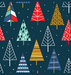 seamless pattern with colorful christmas trees vector image