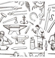 Seamless pattern with objects on blacksmith theme vector image