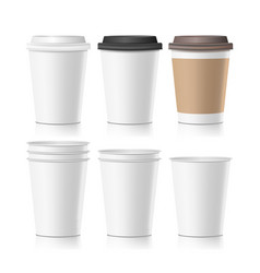 set coffee paper cups empty clean paper vector image