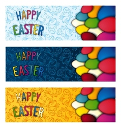 Set Happy Easter flyer vector