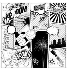 Set of comics speech and explosion bubbles on a vector image