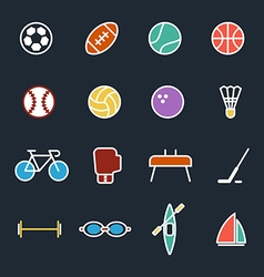 set sport icons flat design isolated vector image