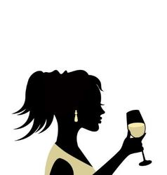 silhouette a woman with a glass vector image